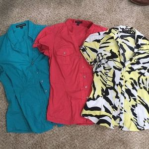 Bundle of 3 short sleeve button down tops